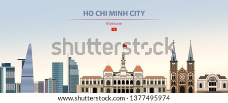 Vector illustration of Ho Chi Minh City skyline on colorful gradient beautiful daytime background