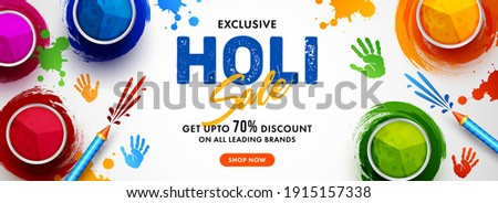 Vector illustration of Holi banner for sale and promotion for Festival of Colors celebration with message exclusive holi sale.