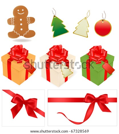 Vector illustration of holiday christmas gifts and elements.