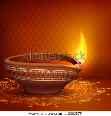 vector illustration of holy diya for Diwali festival