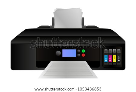 Vector illustration of home digital inkjet printer with cmyk ink cartridges