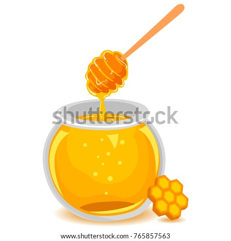 Vector Illustration of Honey in Glass Jar with Honeycomb