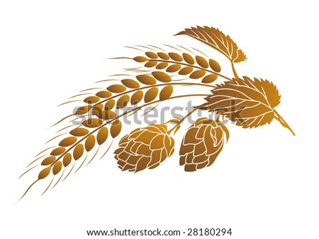 Vector illustration of hops and ears of wheat