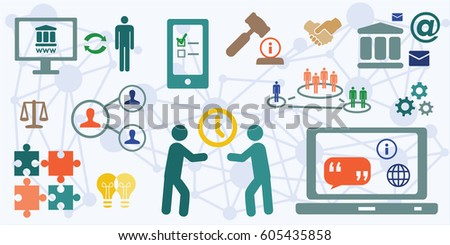 vector illustration of horizontal banner for electronic government concepts