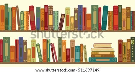 vector illustration of horizontal banner of bookshelves with retro style books for vintage bookstore background or wallpaper