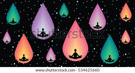 vector illustration of horizontal banner with meditating people in lotus posture inside cosmic shapes on dark cosmic background