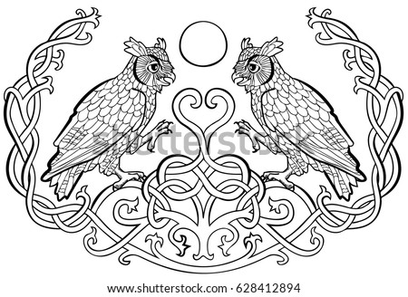 Vector Illustration Of Horned Owls In Love Celtic Ornament Black And White Symbol Wisdom
