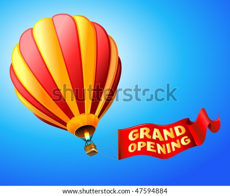 "vector illustration of hot air balloon with red sign ""grand opening"""