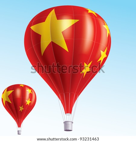 Vector illustration of hot air balloons painted as China flag