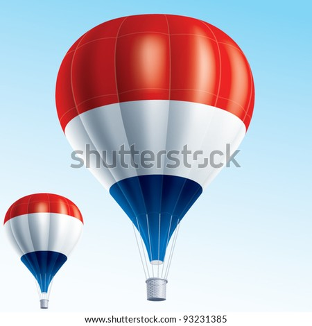 Vector illustration of hot air balloons painted as Netherlands flag