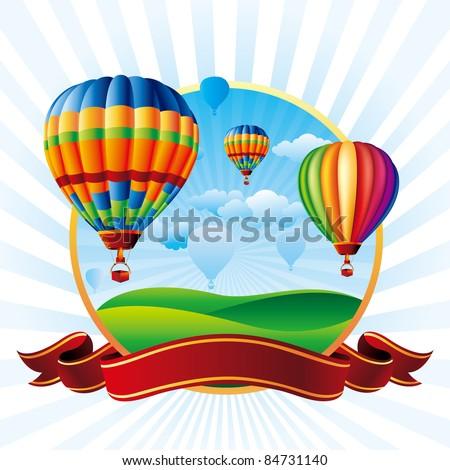 vector illustration of hot air balloons take flight