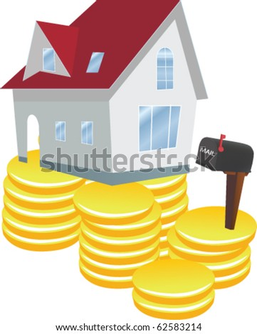 Vector illustration of house and golden coins
