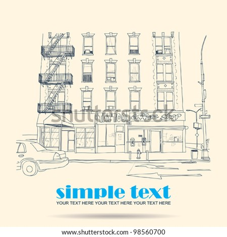 Vector illustration of house and street. - stock vector