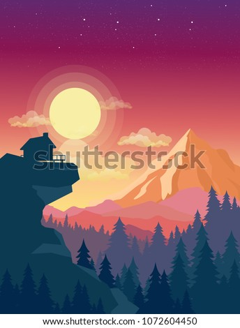 Vector illustration of house on top of mountain with beautiful sunset in mountains landscape on background, sun and clouds in sky in flat style.
