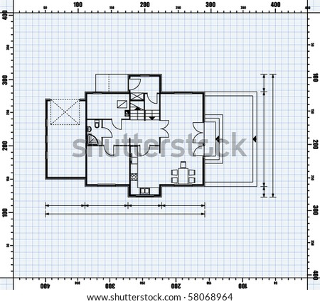 vector illustration of house project. house blueprint - stock vector