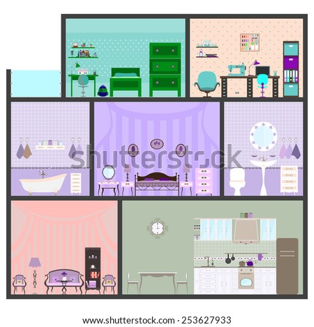 Vector illustration of house with furniture. Flat style.
