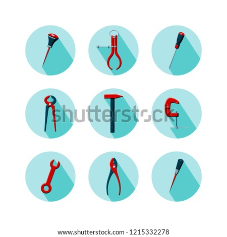 Vector illustration of household tools.  Icons of tools on minty green background with long shadow. Bradawl, outside caliper, screwdriver, cutting pliers, hammer, clamp, wrench, pliers in flat style.
