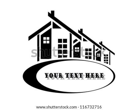 Vector illustration of houses on white background