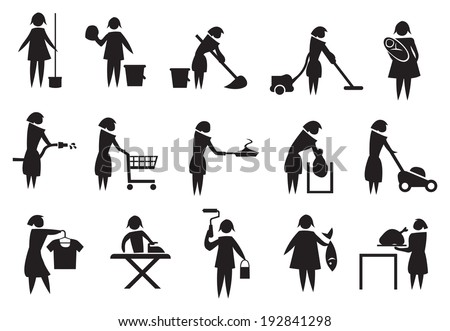 Vector illustration of housewife doing household chores black and white icons - stock vector