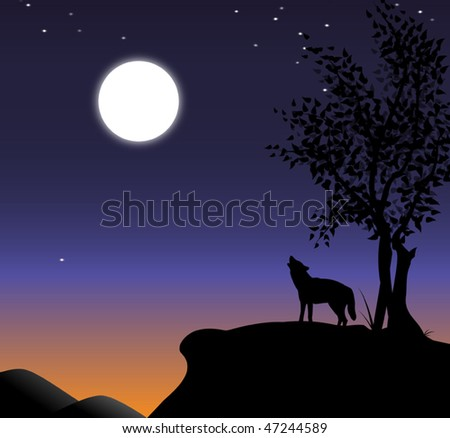 vector illustration of howling