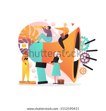 Vector illustration of huge megaphone and tiny characters promoters. Business promotion, types of advertising, public relations, mobile marketing concept for web banner, website page etc.