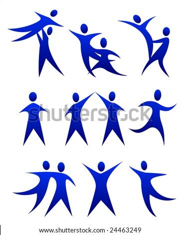 vector illustration of human figure dance movements - stock vector