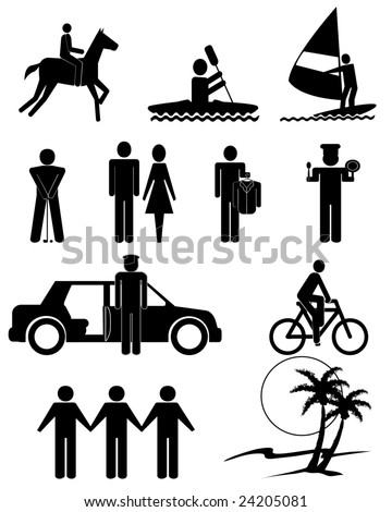 vector illustration of human figures and services symbols - stock ...