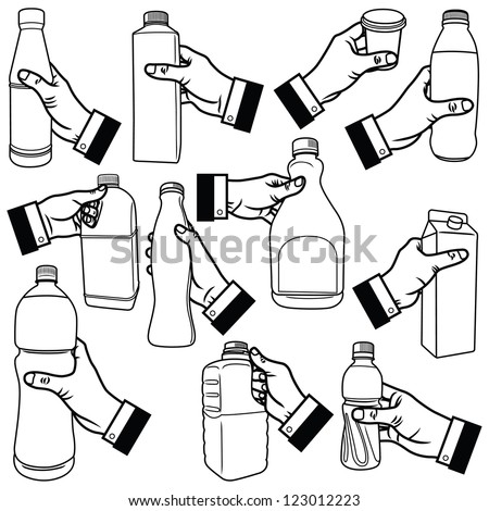 Vector illustration of human hand holding bottle.