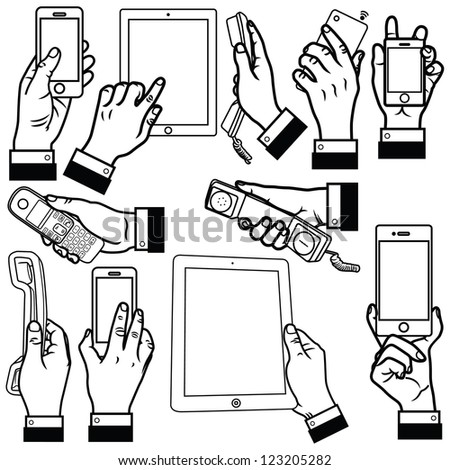 Vector illustration of human hand holding smart phone, office phone and tablet computer set.