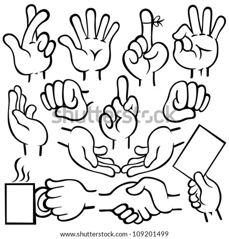 Vector illustration of human hands in different poses.