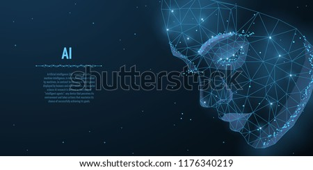 Vector illustration of human head created in low poly style. Face of beauty female, smart person. Intelligence allegory AI. Woman face polygon light