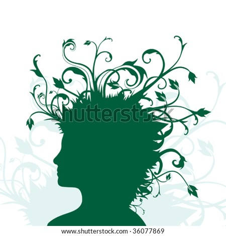 Vector Illustration of human head in silhouette with plants growing from hair.