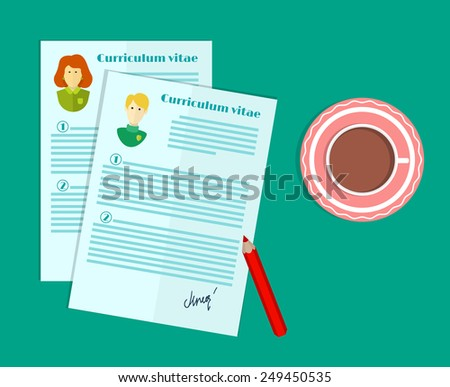 vector illustration of human resources the choice of candidate for the job curriculum vitae stack