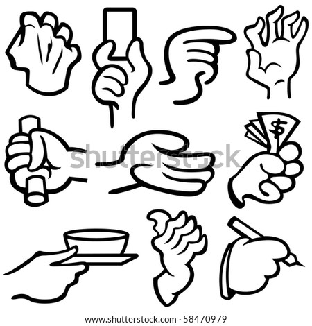 Vector illustration of human's hands in different poses. Please view my portfolio for more vector illustration.