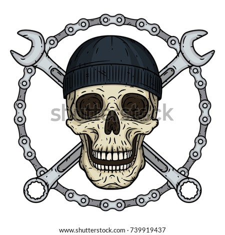 Vector illustration of human skull in black hat with two crossed wrenches and chaun in hand drawn style. Vector skull with spanner