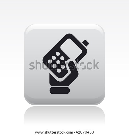 Vector illustration of icon isolated in a modern style, depicting a hand holding a mobile phone