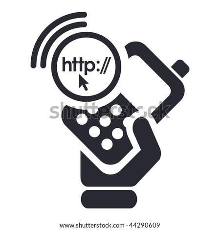 Vector illustration of icon isolated in a modern style, depicting a hand holding a mobile phone with the internet browse symbol
