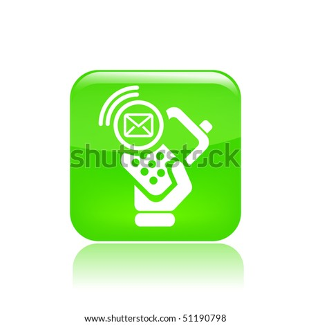 stock vector : Vector illustration of icon isolated in a modern   style, depicting a hand holding a mobile phone with the sms message   symbol