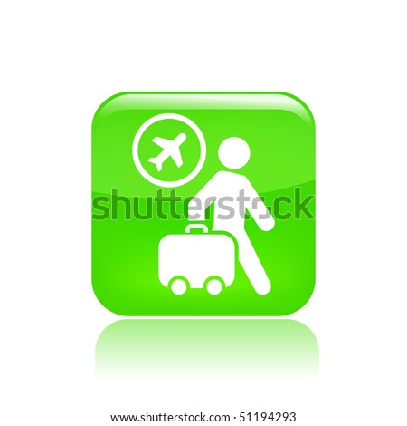 Vector illustration of icon isolated in a modern style, depicting a tourists walking with suitcase