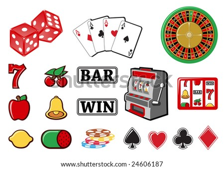 Vector illustration of  icon set or design elements relating to casino.