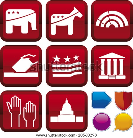 Vector illustration of icon set: politics and buttons. Only global colors. CMYK. Easy color changes.
