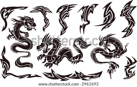 Dragon Tattoo Designs stock vector : Vector Illustration of Iconic Dragons