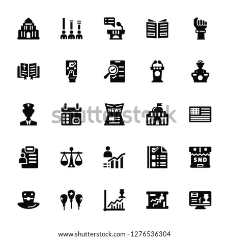 Vector Illustration Of 25 Icons. Editable Pack Capitol, Line chart, Rating, Balloons, Top hat, Conference, Results, Bible, Results