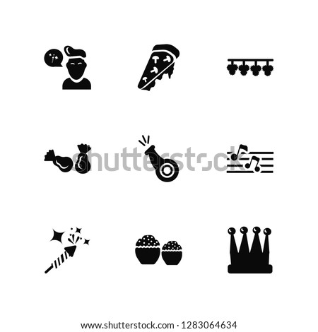 Vector Illustration Of 9 Icons. Editable Pack Chat, Pizza, Firework Rocket, Big Quaver, Wistle, King Crown, Two Muffins, Candies, Flags