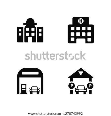 Vector Illustration Of 4 Icons. Editable Pack City hall, Gas station, Hospital, undefined.