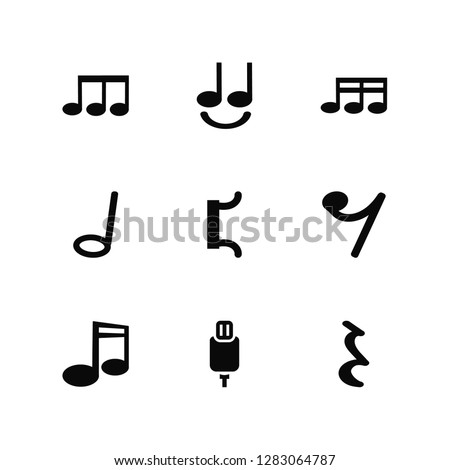 Vector Illustration Of 9 Icons. Editable Pack Eighth note, Tie, Quaver, Eight note rest, Bracket, Quarter Charging Plug, Half