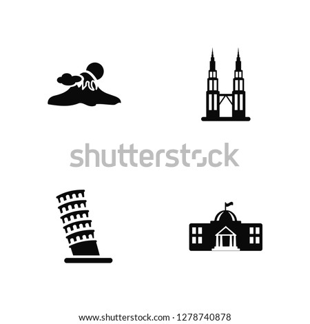 Vector Illustration Of 4 Icons. Editable Pack Fuji mountain, Pisa tower, Petronas towers, undefined.