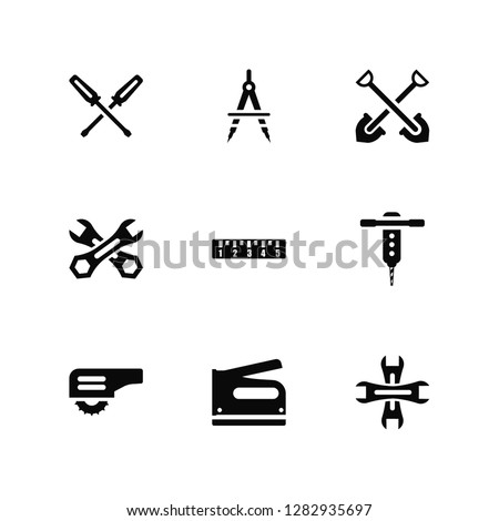 Vector Illustration Of 9 Icons. Editable Pack Garage Screwdriver, Open Compass, Carpenter Cutter, Drill, School Ruler, Wrench, Stapler, Working Shovel