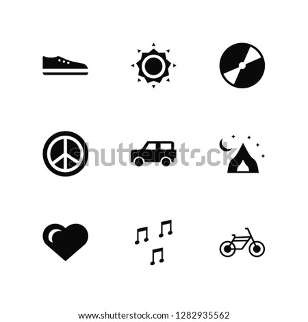 Vector Illustration Of 9 Icons. Editable Pack Shoe, Sun, Heart, Tent, Car, Bicycle, Quaver, Pacifism, Vinyl