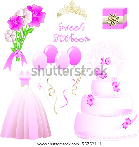 Vector Illustration of icons for a sweet sixteen birthday party. May also be used for Quinceanera
